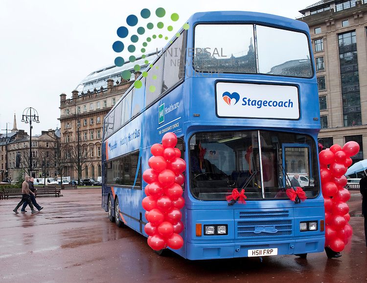 "Brian Souter, Stagecoach Group chief executive unveils a scheme in conjunction with BMI Healthcare which will see a ""Healthy Heart Bus"" visit depots around the country to check the wellbeing of bus drivers..George Square, Glasgow, G21 3UW. Picture: Euan Anderson/Universal News And Sport (Scotland) 25th February 2010."