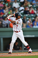 Left fielder Tyler Hill (7) of the Greenville Drive in a game against the Asheville Tourists on Tuesday, May 2, 2017, at Fluor Field at the West End in Greenville, South Carolina. Asheville won, 7-1. (Tom Priddy/Four Seam Images)