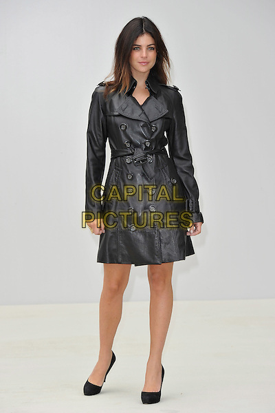 Julia Restoin-Roitfeld.Burberry Spring Summer 2012 Womenswear Show arrivals, Kensington Gardens, London, England 19th September 2011.full length black leather jacket mac.* Editorial Use Only*.CAP/PLF.Supplied by Capital Pictures.
