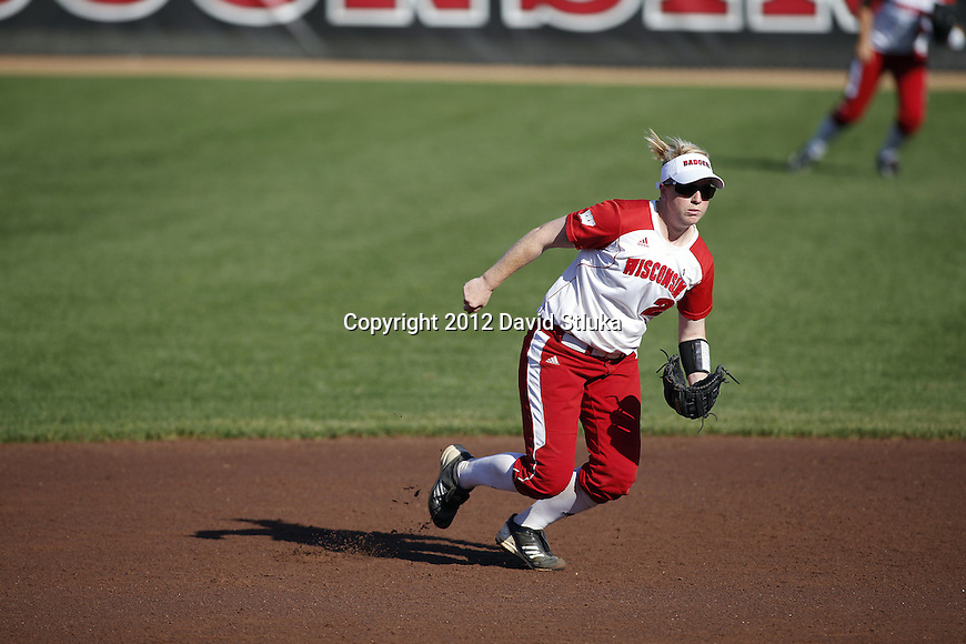 Wisconsin Badgers Whitney Massey (2) during an NCAA women's softball game against the Green Bay Phoenix Saturday, September 29, 2012 in Madison, Wis. (Photo by David Stluka)
