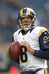 St. Louis Rams quarterback Sam Bradford  warms up before their game against the Seattle Seahawks at CenturyLink Field in Seattle, Washington on December 30, 2012.   Bradford completed 25 of 42 passes for 252 yards, passed for one touchdown and threw one interception in the Rams 13-20 loss to the Seahawks.   © 2102.  Jim Bryant Photo. All Rights Reserved.