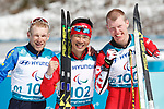 Yoshihiro Nitta (JPN), <br /> MARCH 17, 2018 - Cross-Country Skiing : <br /> Men's Classical 10km Standing Flower Ceremony <br /> at Alpensia Biathlon Centre   <br /> during the PyeongChang 2018 Paralympics Winter Games in Pyeongchang, South Korea. <br /> (Photo by Sho Tamura/AFLO SPORT)