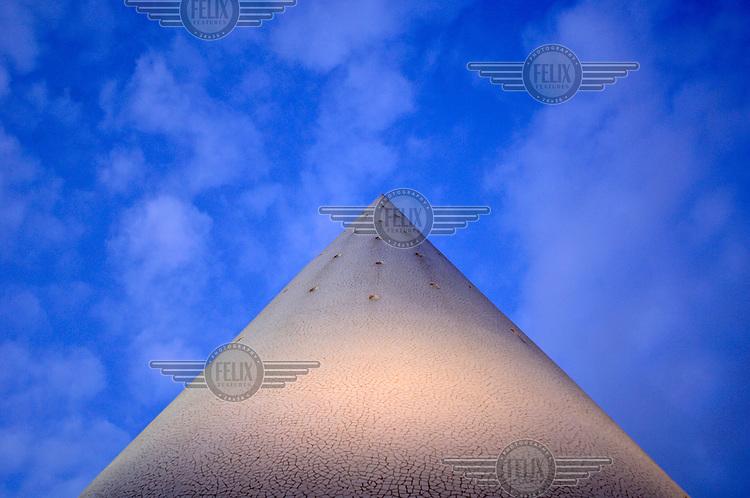 A decorative tower concealing a staircase between two levels of Valenica's new City of Arts and Sciences (Cuitat de les Arts de les Ciences), designed by Valencian architect Santiago Calatrava.