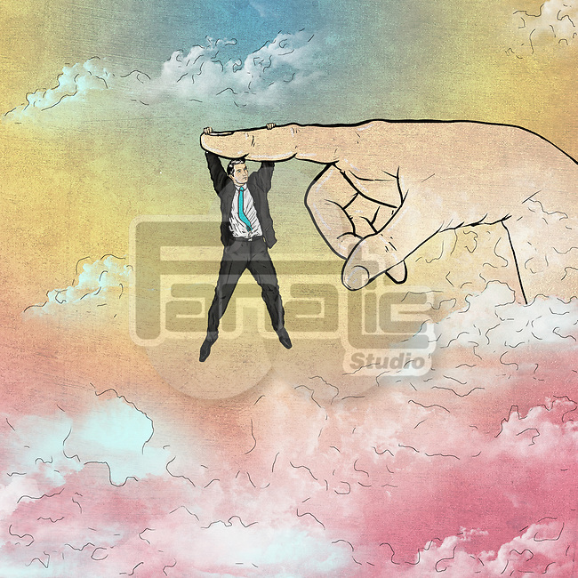Illustrative image of man hanging on finger representing business support