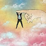 Illustrative image of man hanging on finger representing business support