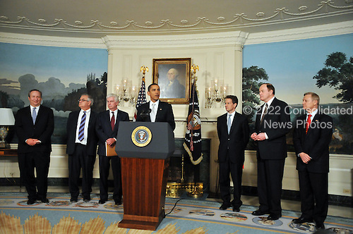 Washington, D.C. - February 25, 2009 -- United States President Barack Obama makes a statement after meeting Secretary of the Treasury Timothy Geithner and the chairmen and ranking members of the Senate Banking Committee and the House Financial Services Committee at the White House in Washington, D.C. on Wednesday, February 25, 2009.  From left to right: Lawrence Summers, Director, National Economic Council; United States Representative Barney Frank (Democrat of Massachusetts), Chairman, United States House Financial Services Committee; United States Senator Christopher Dodd (Democrat of Connecticut), Chairman, United States Senate Committee on Banking, Housing, and Urban Affairs; President Obama; Secretary of the Treasury Timothy Geithner; United States Senator Richard Shelby (Republican of Alabama), Ranking Member, United States Senate Committee on Banking, Housing, and Urban Affairs; and United States Representative Spencer Bachus (Republican of Alabama), Ranking Member, United States House Financial Services Committee..Credit: Ron Sachs / Pool via CNP
