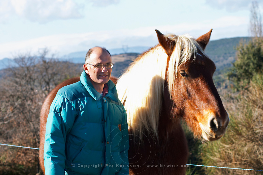 Bernard Bellahsen. Domaine Fontedicto, Caux. Pezenas region. Languedoc. Horse for manually working the vineyard soil. Owner winemaker. Horse to work in the vineyard instead of tractor. France. Europe.