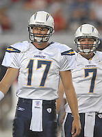 Aug 25, 2007; Glendale, AZ, USA; San Diego Chargers quarterback Philip Rivers (17) against the Arizona Cardinals at University of Phoenix Stadium. San Diego defeated Arizona 33-31. Mandatory Credit: Mark J. Rebilas-US PRESSWIRE