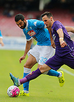 Napoli's Elseid Hysaj   in action during the Italian Serie A soccer match between SSC Napoli and AC Fiorentina  at San Paolo stadium in Naples,October 18, 2015
