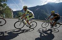Alberto Contador (ESP/Tinkoff-Saxo) up the Lacets de Montvernier (2C/782m/3.4km, 8.2%)<br /> <br /> stage 18: Gap - St-Jean-de-Maurienne (187km)<br /> 2015 Tour de France