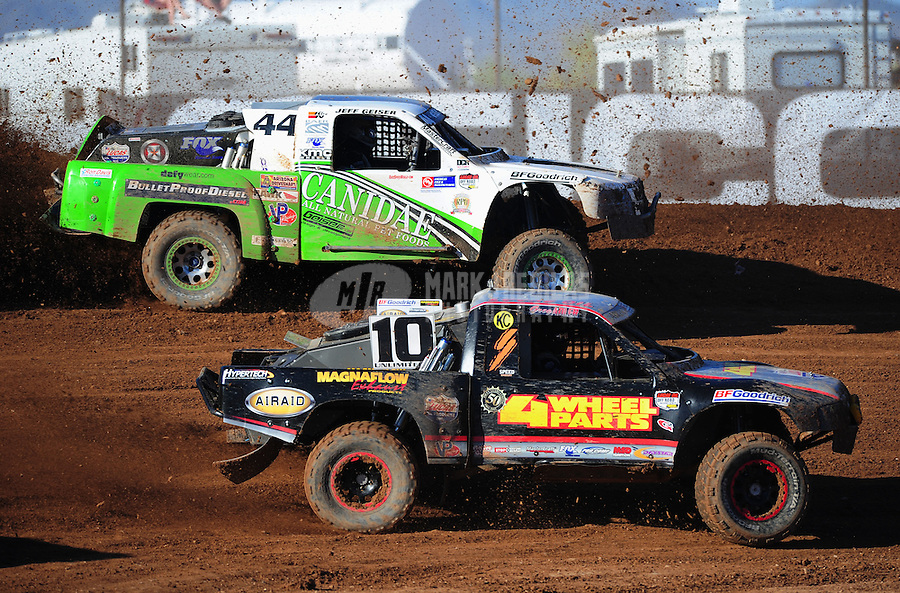 Apr 16, 2011; Surprise, AZ USA; LOORRS driver Greg Adler (10) and Jeff Geiser (44) during round 3 at Speedworld Off Road Park. Mandatory Credit: Mark J. Rebilas-