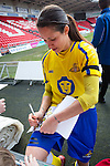 Doncaster Rovers Belles 1 Chelsea Ladies 4, 20/03/2016. Keepmoat Stadium, Womens FA Cup. Courtney Sweetman-Kirk of Doncaster Rovers Belles signing autographs after the match. Photo by Paul Thompson.