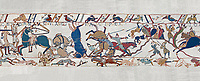Bayeux Tapestry scene 53b: Norman cavalry attack Saxon soldiers ontop of a hill at the Battle of Hastings.   BYX53b
