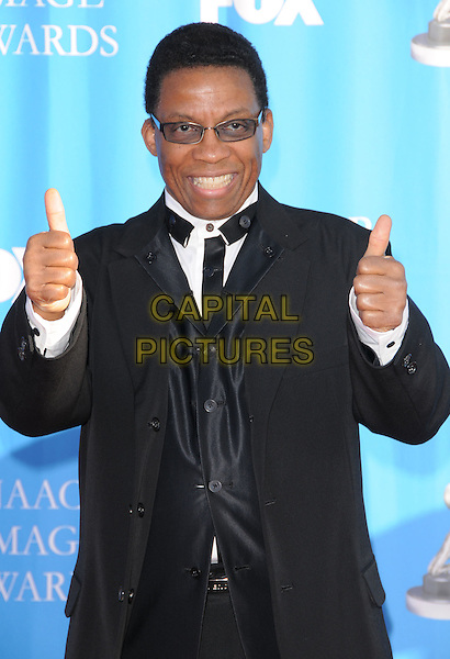 HERBIE HANCOCK.Attends The 39th NAACP Image Awards held at The Shrine Auditorium in Los Angeles, California, USA..February 14th, 2008        .half length black suit cheering tinted glasses sunglasses shades thumbs up.CAP/DVS.©Debbie VanStory/Capital Pictures.