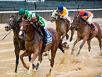 NEW YORK, NY - MAY 13: #3 ridden by Angel Arroyo and trained by Rodrigo Ubillo wins the Ruffian Stakes by a nose, at Belmont Park on May 13, 2017 in Elmont, New York. (Photo by Dan Hearyi/Eclipse Sportswire/Getty Images)