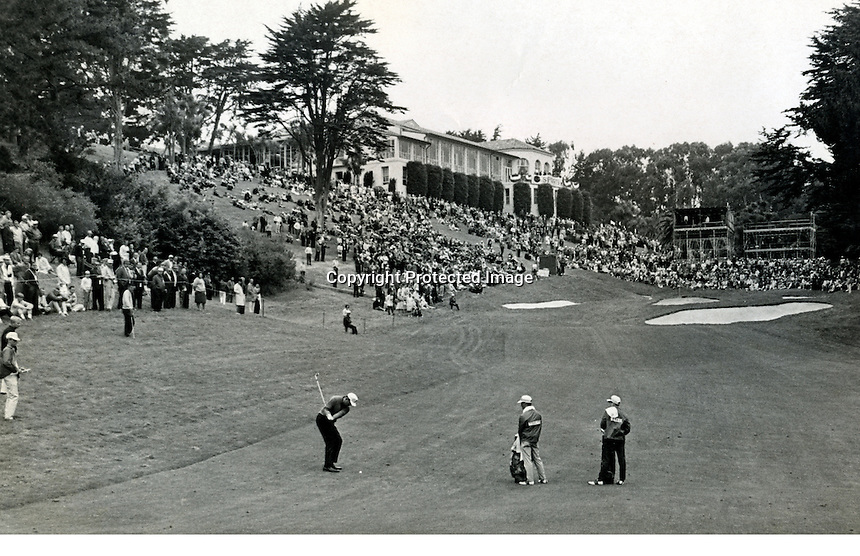Don Massengale hitting to the 18th hole at the Olympic Club in S.F. during the 1966 U.S.Open..photo/Ron Riesterer