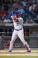 Vladimir Guerrero Jr. (47) of the Buffalo Bison at bat against the Charlotte Knights at BB&T BallPark on August 14, 2018 in Charlotte, North Carolina. The Bison defeated the Knights 14-5.  (Brian Westerholt/Four Seam Images)