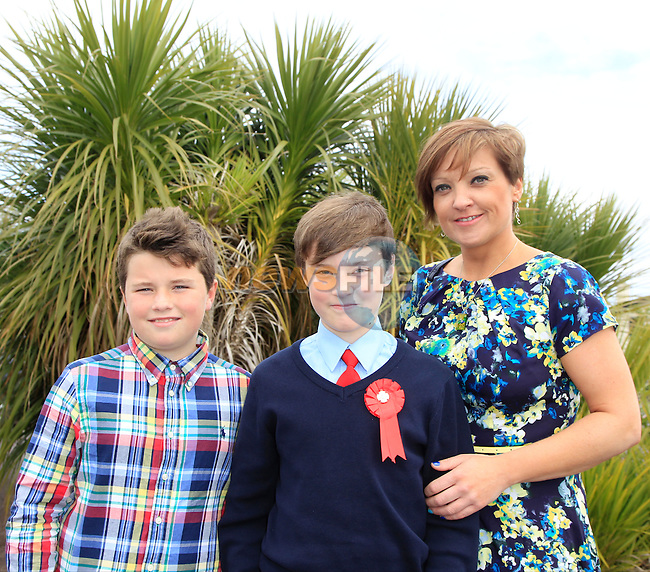 Oran and Johanne with Kai Clancy during confirmation for Donacarney School at Mornington Church on Thursday 21st May 2015.<br /> Picture:  Thos Caffrey / www.newsfile.ie