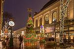 A rainy holiday evening at Quincy Market, Boston, Massachusetts, USA