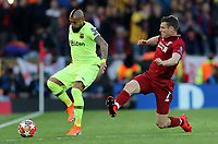 Barcelona's Arturo Vidal is tackled by Liverpool's James Milner<br /> <br /> Photographer Rich Linley/CameraSport<br /> <br /> UEFA Champions League Semi-Final 2nd Leg - Liverpool v Barcelona - Tuesday May 7th 2019 - Anfield - Liverpool<br />  <br /> World Copyright &copy; 2018 CameraSport. All rights reserved. 43 Linden Ave. Countesthorpe. Leicester. England. LE8 5PG - Tel: +44 (0) 116 277 4147 - admin@camerasport.com - www.camerasport.com