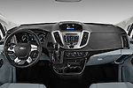 Stock photo of straight dashboard view of 2016 Ford Transit 350-XLT-Med-Roof 4 Door Passenger Van Dashboard