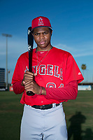 AZL Angels designated hitter William English (24) poses for a photo before an Arizona League game against the AZL Padres 2 at Tempe Diablo Stadium on July 18, 2018 in Tempe, Arizona. The AZL Padres 2 defeated the AZL Angels 8-1. (Zachary Lucy/Four Seam Images)