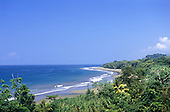 Marino Ballena National Park, Costa Rica. Overview of the coastline with rainforest and beach.