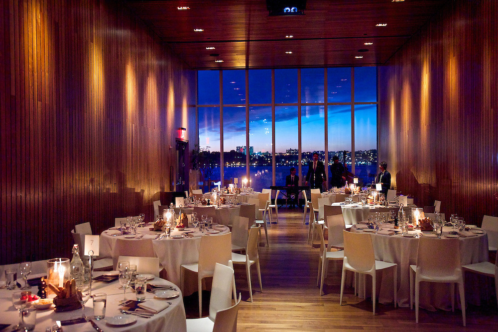 The spectacular view at sunset from The High Line Room at The Standard Hotel in New York's Meatpacking District set for a corporate dinner.
