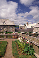 fort, Cape Breton, Nova Scotia, NS, Canada, Atlantic Ocean, Village and gardens at the Fortress of Louisbourg National Historic Site on Cape Breton Island in Nova Scotia.