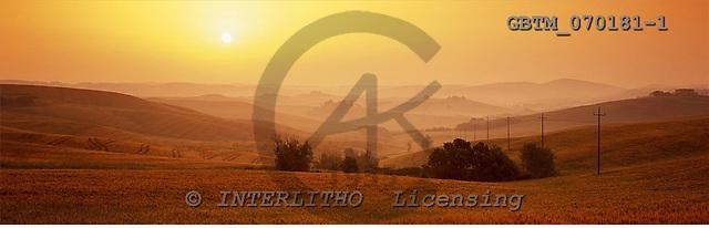 Tom Mackie, LANDSCAPES, panoramic, photos, Misty Sunrise near Asciano, Tuscany, Italy, GBTM070181-1,#L#