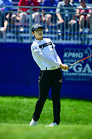 Sung Hyun Park (KOR) watches her tee shot on 1 during Sunday's final round of the 2017 KPMG Women's PGA Championship, at Olympia Fields Country Club, Olympia Fields, Illinois. 7/2/2017.<br /> Picture: Golffile | Ken Murray<br /> <br /> <br /> All photo usage must carry mandatory copyright credit (&copy; Golffile | Ken Murray)