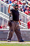 23 August 2018: MLB Umpire Eric Cooper works home plate during a game between the Washington Nationals and the Philadelphia Phillies at Nationals Park in Washington, DC. The Phillies shut out the Nationals 2-0 to take the 3rd game of their 3-game mid-week divisional series. Mandatory Credit: Ed Wolfstein Photo *** RAW (NEF) Image File Available ***