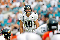 October 09, 2011:  Jacksonville Jaguars kicker Josh Scobee (10) lines up for a first half field goal during action between the Jacksonville Jaguars and the Cincinnati Bengals played at EverBank Field in Jacksonville, Florida.  ........