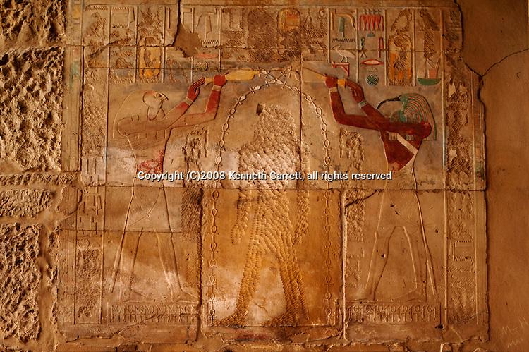 Hatshepsut; Egypt; Karnak Temple; Red Chapel; Hatshepsut temple, erased images; 18th dynasty; New Kingdom, gods, Thoth, Horus