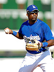 13 March 2007: Los Angeles Dodgers third baseman Wilson Betemit takes fielding practice prior to facing the Detroit Tigers in a spring training game at Holman Stadium in Vero Beach, Florida.<br /> <br /> Mandatory Photo Credit: Ed Wolfstein Photo