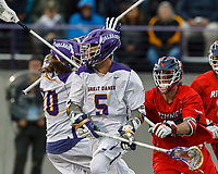Connor Fields (#5) prepares to shoot as UAlbany Men's Lacrosse defeats Richmond 18-9 on May 12 at Casey Stadium in the NCAA tournament first round.