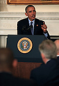 United States President Barack Obama delivers remarks and takes questions from the National Governors Association as they meet in the State Dining Room of the White House in Washington, DC on February 22, 2016.  <br /> Credit: Dennis Brack / Pool via CNP