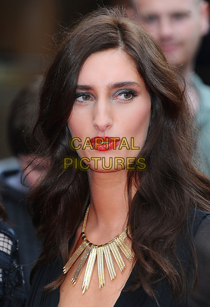 "Jessica Knappett.""The Inbetweeners Movie"" UK premiere, Vue West End cinema, Leicester Square, London, England..August 16th, 2011.headshot portrait black gold necklace red lipstick .CAP/BEL.©Tom Belcher/Capital Pictures."