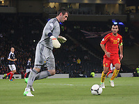 Allan McGregor in the Scotland v Macedonia FIFA World Cup Qualifying match at Hampden Park, Glasgow on 11.9.12.