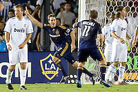 Todd Dunivant of the LA Galaxy begins to celebrate after scoring a goal. Real Madrid beat the LA Galaxy 3-2 in an international friendly match at the Rose Bowl in Pasadena, California on Saturday evening August 7, 2010.