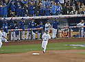 Norichika Aoki (Royals),<br /> OCTOBER 28, 2014 - MLB :<br /> Norichika Aoki of the Kansas City Royals runs to first base after hitting an RBI single in the bottom of the second inning during Game 6 of the 2014 Major League Baseball World Series against the San Francisco Giants at Kauffman Stadium in Kansas City, Missouri, United States. (Photo by AFLO)