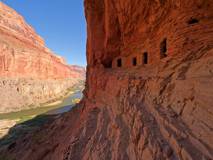 The Ancestral Puebloan Nankoweap granaries sit high above the Colorado River in the Grand Canyon, Grand Canyon National Park, Arizona, USA