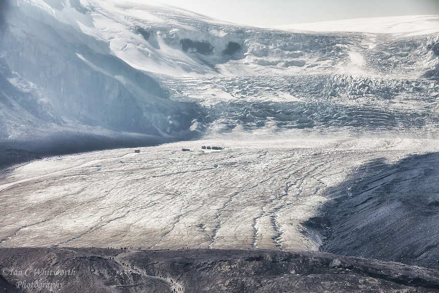 A View Looking up at the Athabasca Glacier with some impacts from the forest fire smoke.