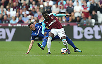 West Ham United's Arthur Masuaku is challenged by Everton's Ramiro Funes Mori<br /> <br /> Photographer Rob Newell/CameraSport<br /> <br /> The Premier League - West Ham United v Everton - Sunday 13th May 2018 - London Stadium - London<br /> <br /> World Copyright &copy; 2018 CameraSport. All rights reserved. 43 Linden Ave. Countesthorpe. Leicester. England. LE8 5PG - Tel: +44 (0) 116 277 4147 - admin@camerasport.com - www.camerasport.com