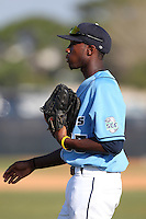 SCF Manatees outfielder Elson Brown #33 during a game vs. Indian River State College at Robert C. Wynn Field in Bradenton, Florida;  February 22, 2011.  SCF defeated Indian River 3-0.  Photo By Mike Janes/Four Seam Images