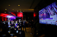 NEW YORK, NY - MAY 3 :  Campaign Staff of U.S. Republican presidential candidate Donald Trump listen to U.S. Republican presidential candidate Ted Cruz drops out his presidential campaign on a screen on May 3, 2016 in Manhattan, New York. Front-running Republican candidate Trump won Indiana's Republican primary, moving him closer to claiming the party's nomination. Photo by VIEWpress