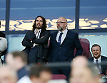 West Ham fan Russell Brand looks on during the Premier League match at the London Stadium, London. Picture date: May 5th, 2017. Pic credit should read: David Klein/Sportimage