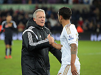 Swansea manager Alan Curtis celebrates his team's win with Kyle Naughton after the Barclays Premier League match between Swansea City and Watford at the Liberty Stadium, Swansea on January 18 2016