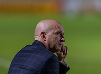 CARY, NC - OCTOBER 12: Paul Riley of the North Carolina Courage yells to his team during a game between Sky Blue FC and North Carolina Courage at WakeMed Soccer Park on October 12, 2019 in Cary, North Carolina.