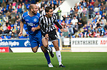 St Johnstone v St Mirren...11.09.10  .Sam Parkin gets to the ball before Lee Mair to head in saints second goal.Picture by Graeme Hart..Copyright Perthshire Picture Agency.Tel: 01738 623350  Mobile: 07990 594431
